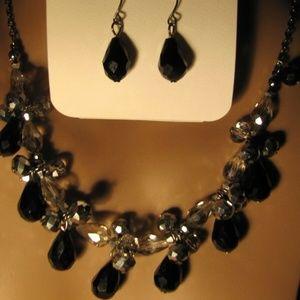 Croft & Barrow Black & Silver Necklace & Earrings